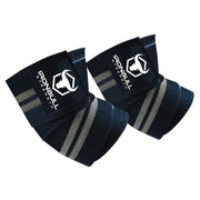 black-gray iron bull strength elbow wraps for bench press