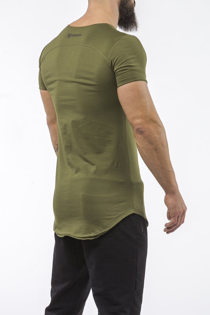 army-green gym t-shirt scoop neck breathable shirt