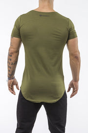 army-green gym t-shirt scoop neck stretch cotton