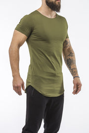 army-green workout t-shirt o-neck comfortable shirt