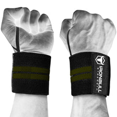 black-army-green wrist support wraps with thumb loop