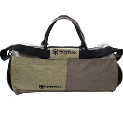 army-green gym duffle bag front view
