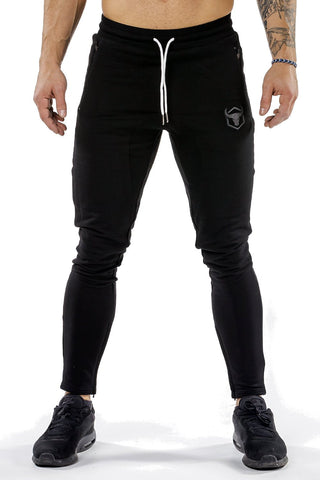black men joggers classic zip front with lace