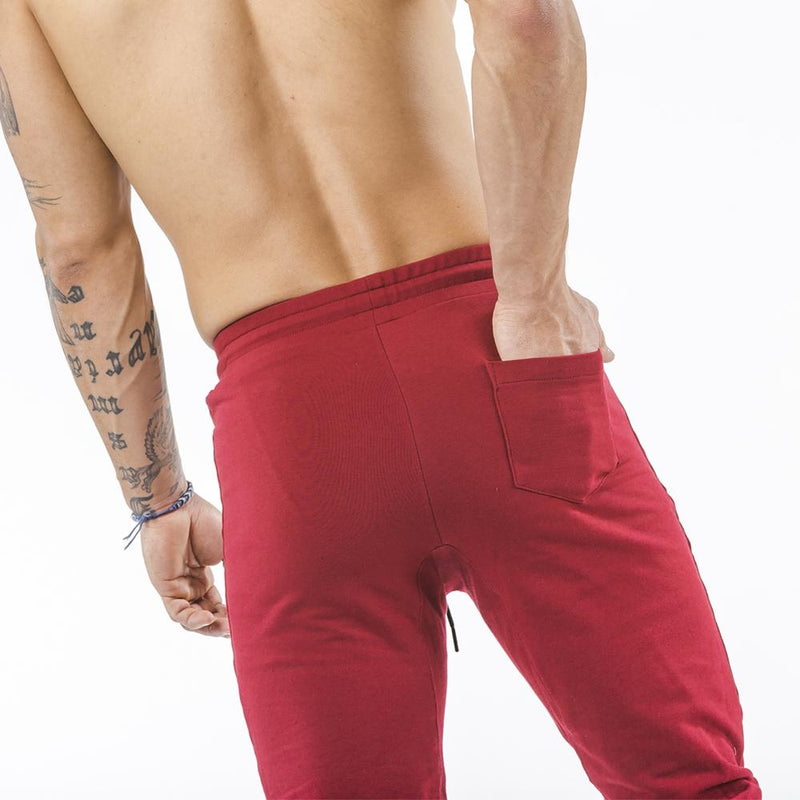 burgundy tapered fit joggers classic zip back pocket