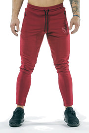 burgundy men joggers classic zip front with lace
