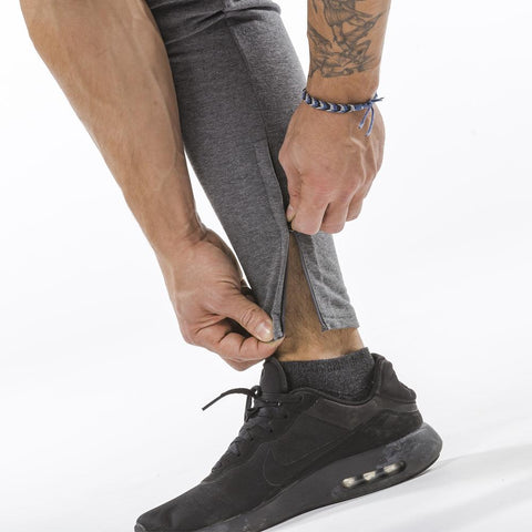 gray iron bull strength zip pockets joggers ankle zip feature