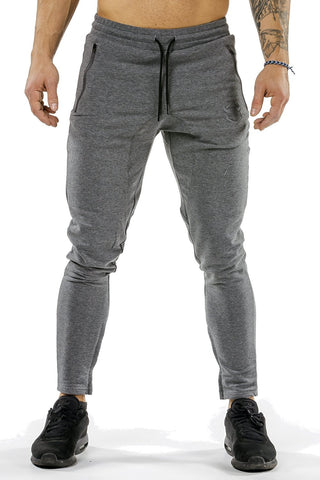gray men joggers classic zip front with lace