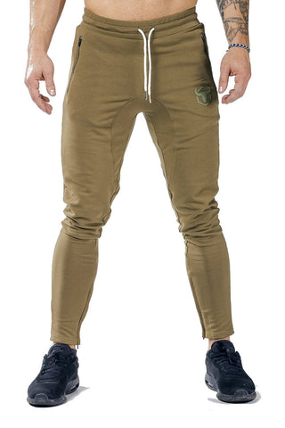 khaki men joggers classic zip front with lace