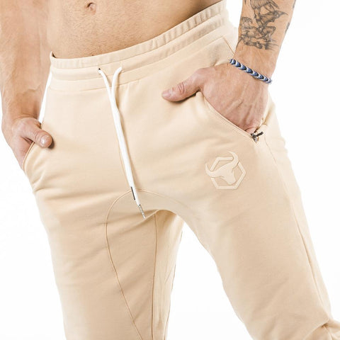 tan iron bull strength joggers classic zip front pockets