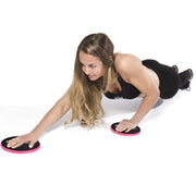 black-pink gliding discs shoulder exercises