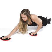 black-red gliding discs shoulder exercises