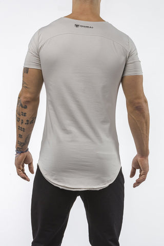 light-gray gym t-shirt scoop neck stretch cotton