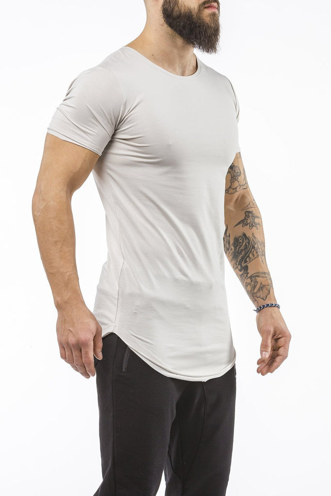 light-gray workout t-shirt o-neck comfortable shirt