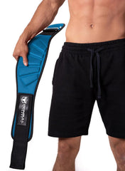 cyan model putting on back support lifting belt
