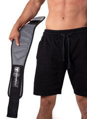gray model putting on back support lifting belt