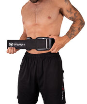 gray model holding 6 inches weight lifting belt