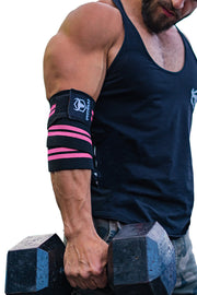 black-pink iron bull strength elbow wraps for free weights