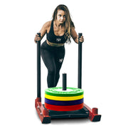 power training sled push legs and chest workout