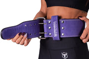 purple powerlifting belt waist fit iron bull strength