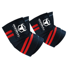black-red iron bull strength elbow wraps for bench press