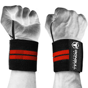 black-red wrist support wraps with thumb loop