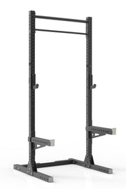 105 black coated steel home gym squat rack with dual pull up bar, safety arms and j-cups from iron bull strength