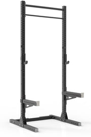 111 black coated steel home gym squat rack with dual pull up bar, safety arms and j-cups from iron bull strength