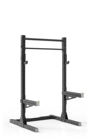 81  black coated steel home gym squat rack with dual pull up bar, safety arms and j-cups from iron bull strength