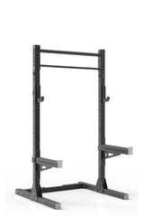 87  black coated steel home gym squat rack with dual pull up bar, safety arms and j-cups from iron bull strength