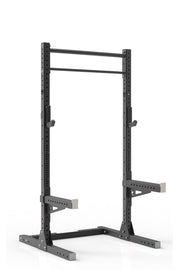 93 black coated steel home gym squat rack with dual pull up bar, safety arms and j-cups from iron bull strength