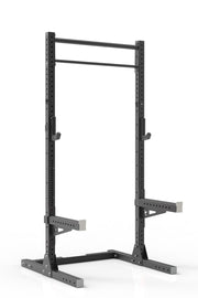 99 black coated steel home gym squat rack with dual pull up bar, safety arms and j-cups from iron bull strength