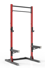 105 red powder coated steel home gym squat rack with dual pull up bar, safety arms and j-cups from iron bull strength