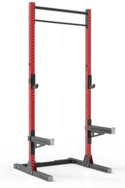 111 red powder coated steel home gym squat rack with dual pull up bar, safety arms and j-cups from iron bull strength