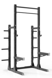 105 black powder coated steel home gym squat rack with dual pull up bar, safety arms, weight plates storage and j-cups from iron bull strength