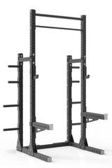 "105"" black powder coated steel home gym squat rack with dual pull up bar, safety arms, weight plates storage and j-cups from iron bull strength"