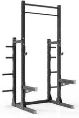111 black powder coated steel home gym squat rack with dual pull up bar, safety arms, weight plates storage and j-cups from iron bull strength