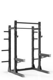 81 black powder coated steel home gym squat rack with dual pull up bar, safety arms, weight plates storage and j-cups from iron bull strength