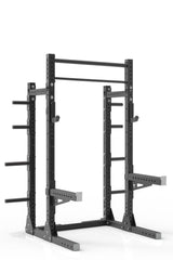 87 black powder coated steel home gym squat rack with dual pull up bar, safety arms, weight plates storage and j-cups from iron bull strength