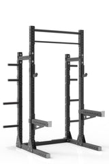 "93"" black powder coated steel home gym squat rack with dual pull up bar, safety arms, weight plates storage and j-cups from iron bull strength"