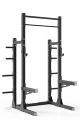 "99"" black powder coated steel home gym squat rack with dual pull up bar, safety arms, weight plates storage and j-cups from iron bull strength"