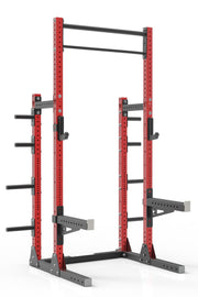 "105"" red powder coated steel home gym squat rack with dual pull up bar, safety arms, weight plates storage and j-cups from iron bull strength"