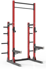"111"" red powder coated steel home gym squat rack with dual pull up bar, safety arms, weight plates storage and j-cups from iron bull strength"