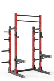 "93"" red powder coated steel home gym squat rack with dual pull up bar, safety arms, weight plates storage and j-cups from iron bull strength"