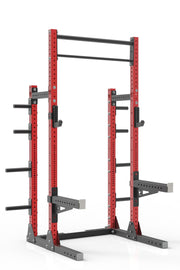 "99"" red powder coated steel home gym squat rack with dual pull up bar, safety arms, weight plates storage and j-cups from iron bull strength"