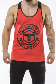 red-black workout muscle stringer iron bull strength front