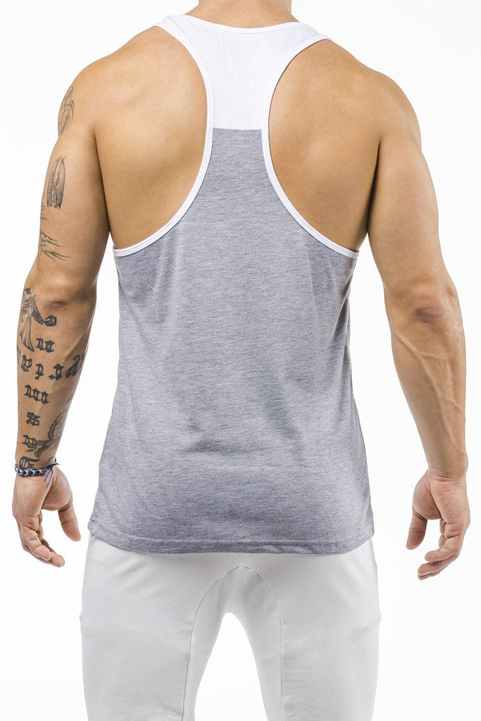 gray-white  gym tank top unleash the beast back