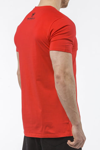 red tapered fit cotton t-shirt iron bull strength