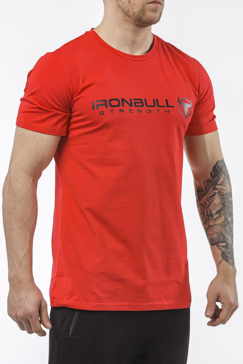 red classic series cotton t-shirt iron bull strength