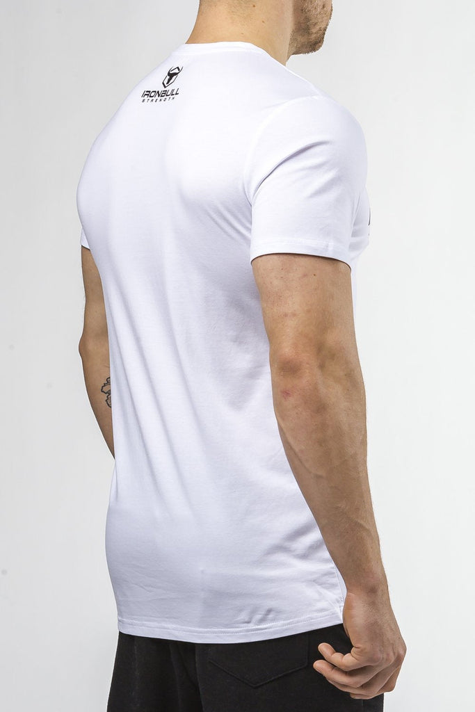 white tapered fit cotton t-shirt iron bull strength