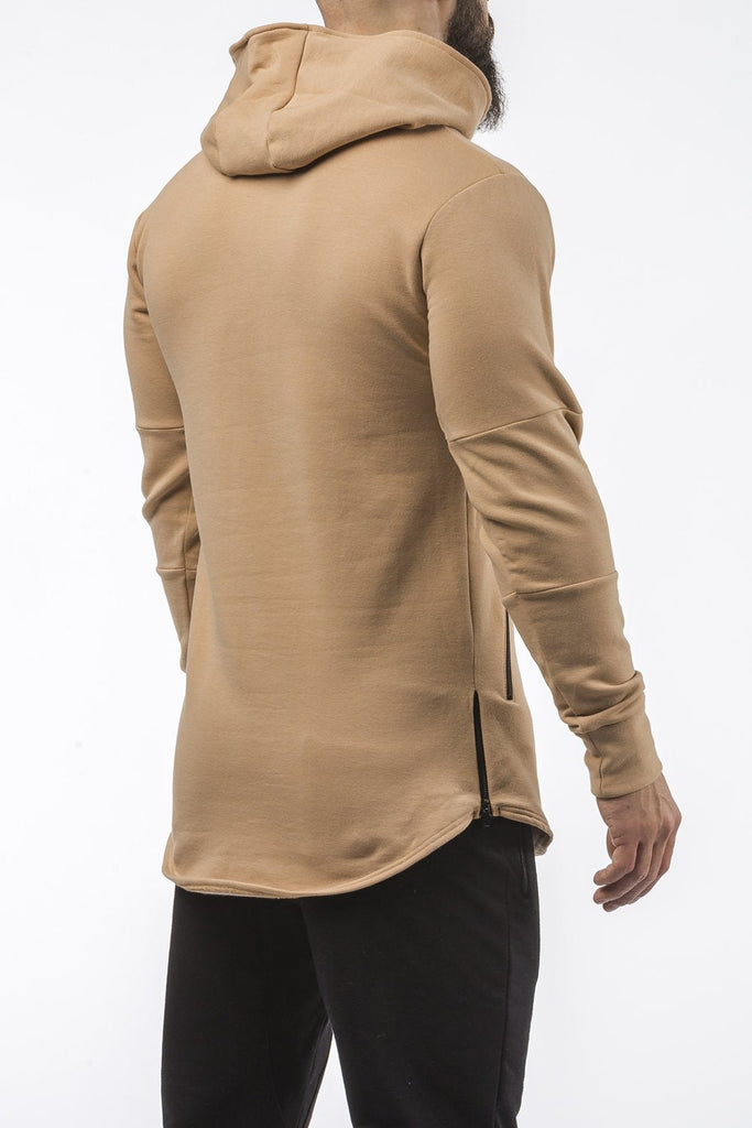 tan tapered fit hoodie bodybuilder strongman